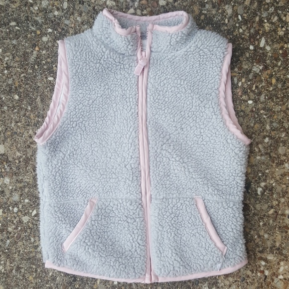 Carter's Other - Carter's Girls Grey Pink Fuzzy Sleeveless Vest 5